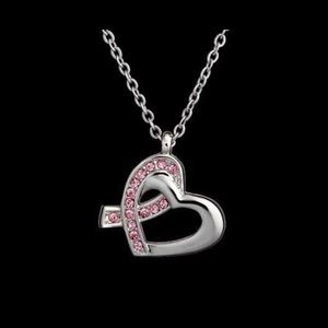 Caravelle Silver Plated Breast Cancer Necklace